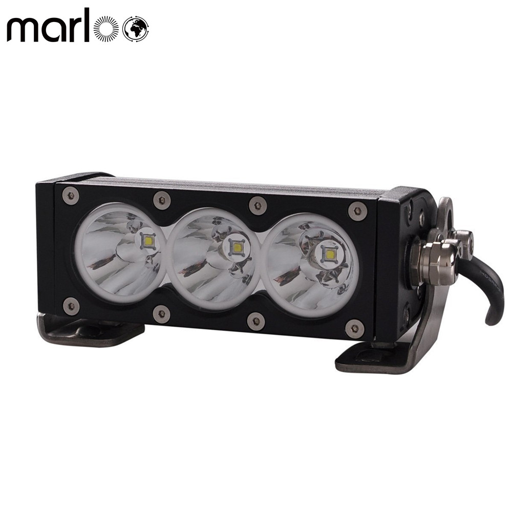 Marloo 6 inch 30W White LED Work Light Bar Off Road lights Single Row For SUV ATV Jeep 4x4 Pickup Truck Boat Motorcycle