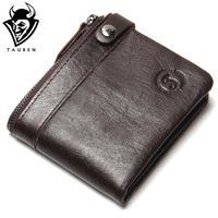 100 Genuine Leather Wallet New 2017 Men Fashion Oil Wax Leather Wallet Ladies Vintage Short Coffee