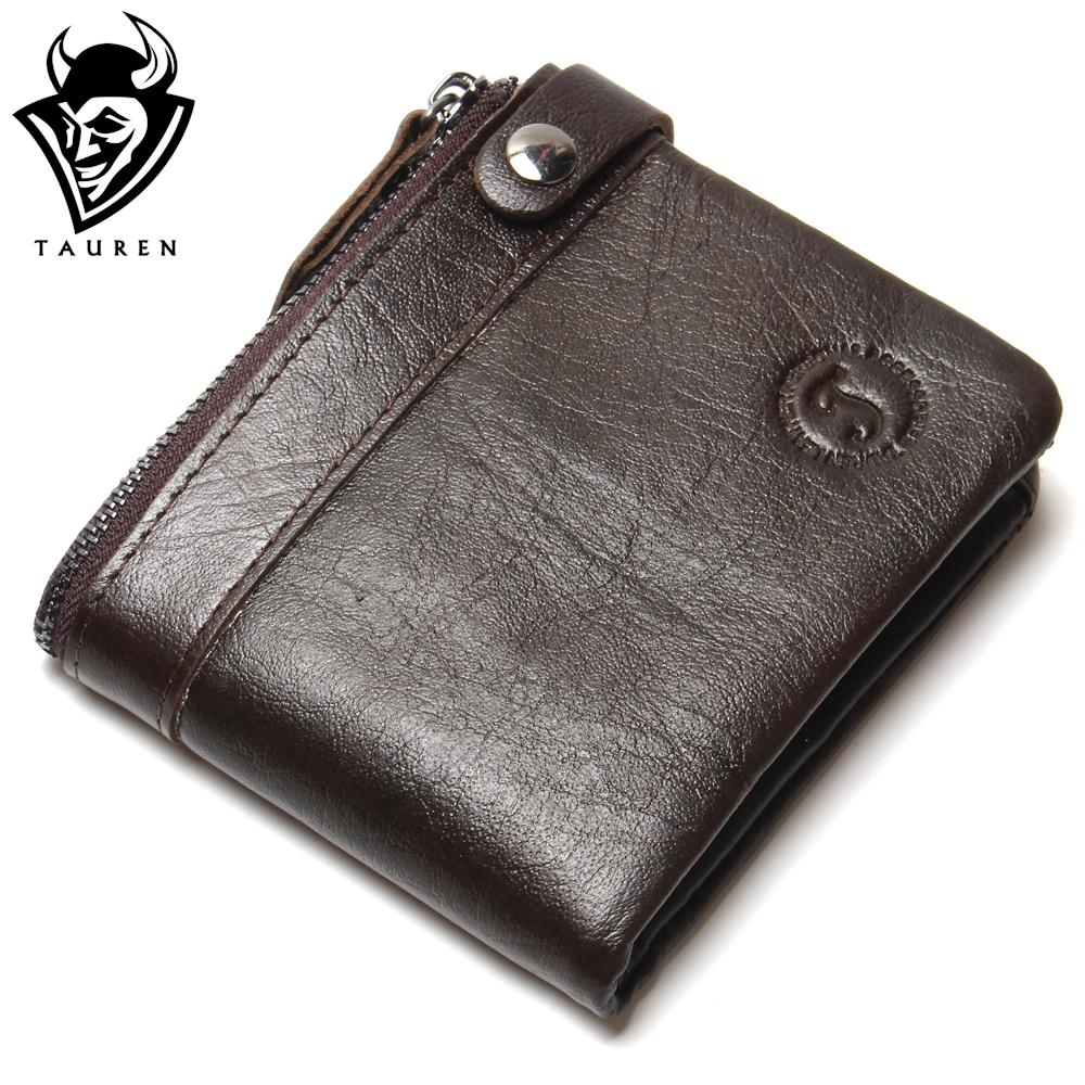 100% Genuine Leather Wallet New 2018 Men Fashion Oil Wax Leather Wallet Ladies Vintage Short Coffee Coin Purse