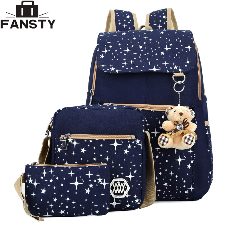 2016 Summer New Women Canvas Backpack Starry Sky Printing Students Bag 3 Pcs School Bag Set for Younth Girls with Two Purse Bear hw2016 new arrival new 3d printing purple starry sky elastic breathable vest leggings yoga set