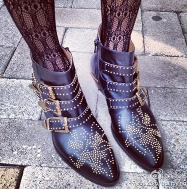 Eunice Choo Rivets Studded Buckle Straps Square Heel Black Ankle Boots Belt Decor Motorcycle Boots Genuine Leather Shoes Women