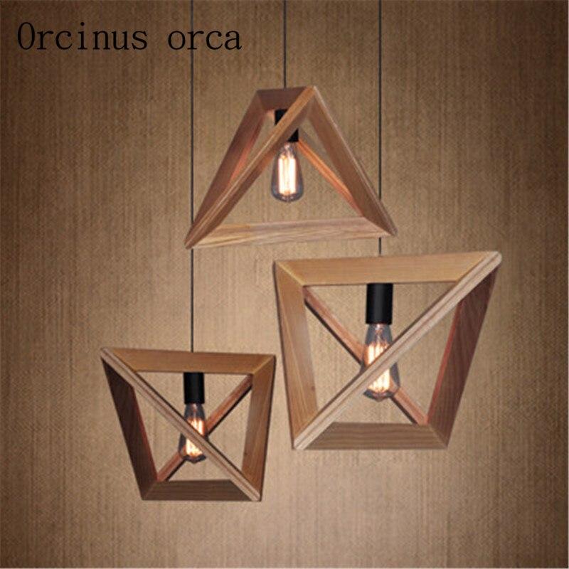 Здесь можно купить  American chandelier restaurant coffee solid wood Nordic retro geometric shape wood frame  Свет и освещение