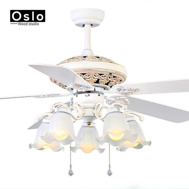 רטרו לבן LED אורות נברשת מאוורר מינימליסטי סלון חדר שינה חדר אוכל תקרת נברשת מאוורר אורות קונטיננטל