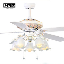 Retro white LED lights chandelier fan Minimalist living room bedroom dining room ceiling chandelier fan lights continental(China)