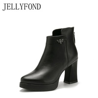 JELLYFOND Genuine Leather Women Dress Boots 2017 Original Designer Real Leather Platform Ankle Boots Handmade Shoes