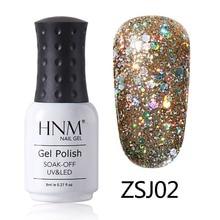 HNM Glitter Diamond 8ml UV Gel Nail Polish Semi Permanent Painting Gellak Shiny Lucky Lacquer Enamel Stamping Base Top Coat