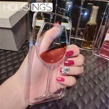 3D Red Wine Glass Phone Case For iPhone 6s 7 8 Plus Ultra-Thin Transparent Back Cover iPhoneX Xs Shockproof