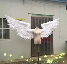Творческий моделирование полиэтилена и меха шоу белые крылья ангела крылья модель куклы около 120 см
