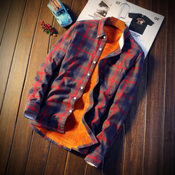 2018 Shirt Men Plaid Flannel Shirts Mens Casual Autumn Winter Spring Thick Warm Fleece Cotton Long Sleeve Shirt Camisa Masculina 3