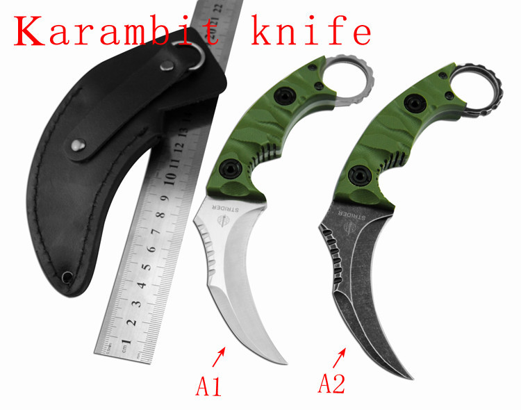 Outdoor Karambit font b Knife b font D2 Steel Balde Hunting font b Knives b font