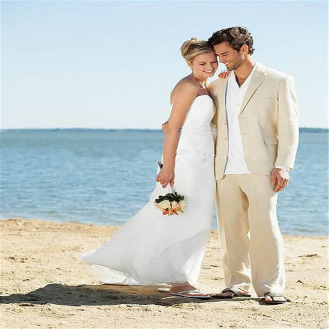 Ivory Linen Suits Beach Wedding For Men Tailored Suit Custom Made Groom Tuxedo