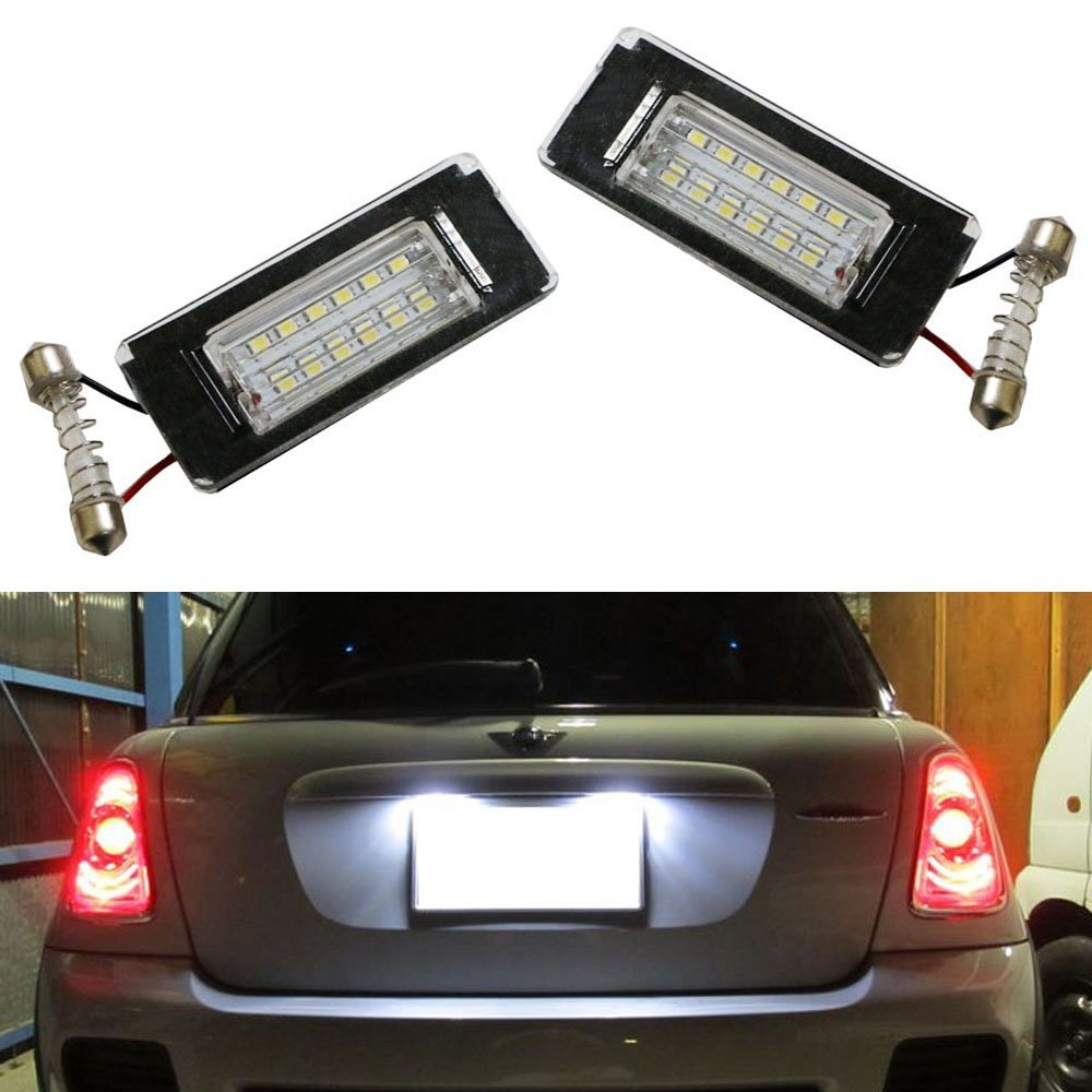 CYAN SOIL BAY 2X 18SMD  Direct Fit White LED License Plate Lights Lamps For MINI Cooper R56 R57 R58 R59 deep cut black fuel tank door
