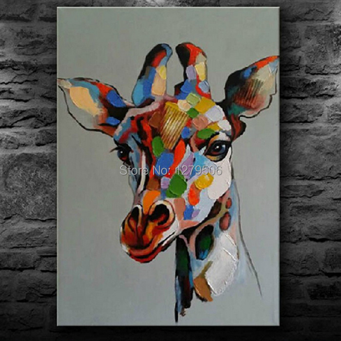 Handmade abstract cute baby giraffe art oil painting on - Oil painting ideas for living room ...