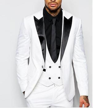 New Arrival One Button White Groom Tuxedos Peak Lapel Groomsmen Best Man Wedding Prom Dinner Suits (Jacket+Pants+Vest+Tie)