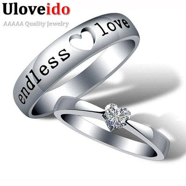 444eed9043f7 De Zircon de corazón amor infinito anillo de compromiso anillo de boda  anillos de pareja comentado