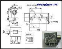 DHL/EMS 1000PCS 1/8 inches 3.5mm Stereo Jack Headphones Audio Socket Panel Mount Chassis PJ 323 A7