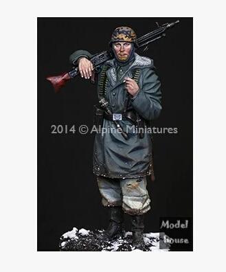 Modelos em escala 90 mm WW2 CCCP 1/16 WSS MG42 Gunner segunda guerra mundial resina modelo frete grátis