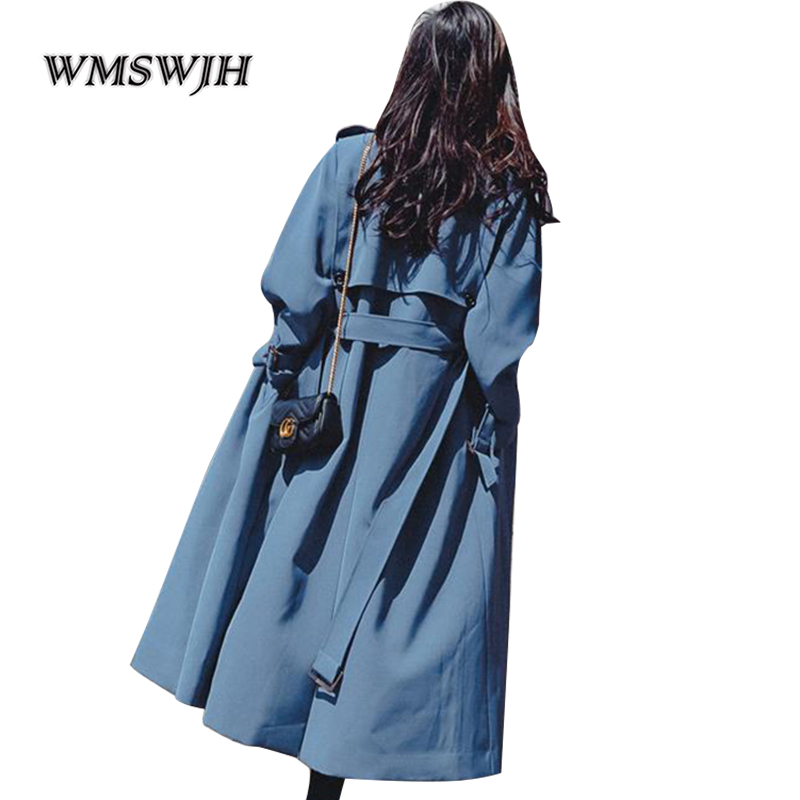 2019 New Fashion Windbreaker Coat Female British Style Long Trench Coat Womens Slim Belt Cloak Mujer