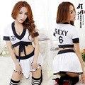 Mulheres Líder do Elogio Trajes Trajes Sexy School Girls Trajes Cheerleader Branco N ° 6 de Futebol