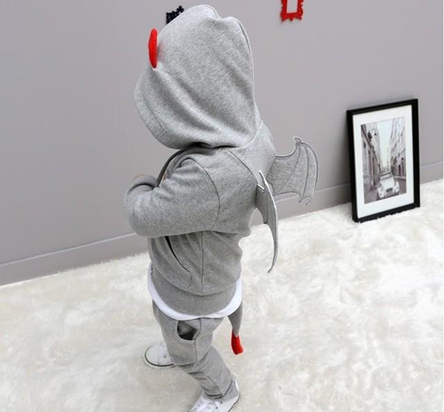Bebê outono conjuntos de roupas crianças esportes dos meninos quentes little devil asa jaqueta com capuz + calça conjunto de roupas trajes crianças roupas