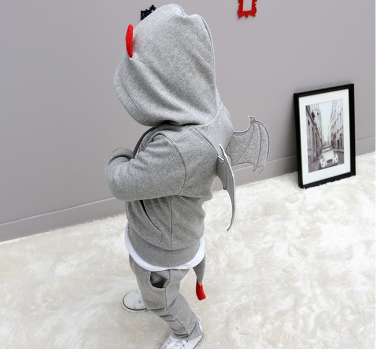baby autumn warm clothing children boys sports sets little devil wing hooded jacket+pants set kids costumes clothes