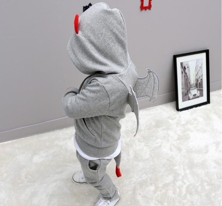 baby autumn warm clothing children font b boys b font sports sets little devil wing hooded