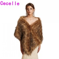 New Arrival Brown Faux Fur Bridal Wraps For Wedding 2019 Women Bridesmaids Faux Fur Shawl For Wedding Party