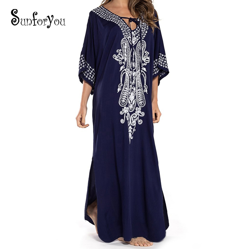 New Beach Dress Cotton Embroidery Beach Cover Up White Beach Sarong Vestido Largo Playa Bathing Suit Cover Ups Robe De Plage