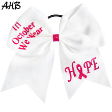 AHB Breast Cancer Awareness 7 Large Hair Bows for Girls Cheerleading Cheer Rubber Band Ribbons Fashion Headwear
