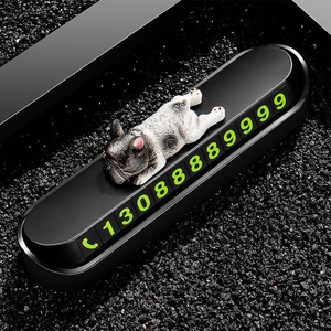 Image 1 - Phone Number In The Car Bulldog Temporary Parking Card Night Luminous Phone Number Car Plate Car Accessories Styling Car Sticker