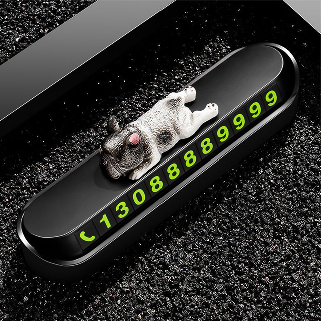 Phone Number In The Car Bulldog Temporary Parking Card Night Luminous Phone Number Car Plate Car Accessories Styling Car Sticker