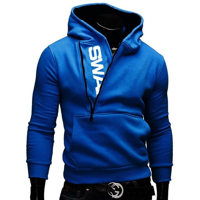 Side Zipper Hoodies Men Cotton Sweatshirt Spring Letter Print Sportswear Slim Pullover Tracksuit Hip Hop Street wear 1