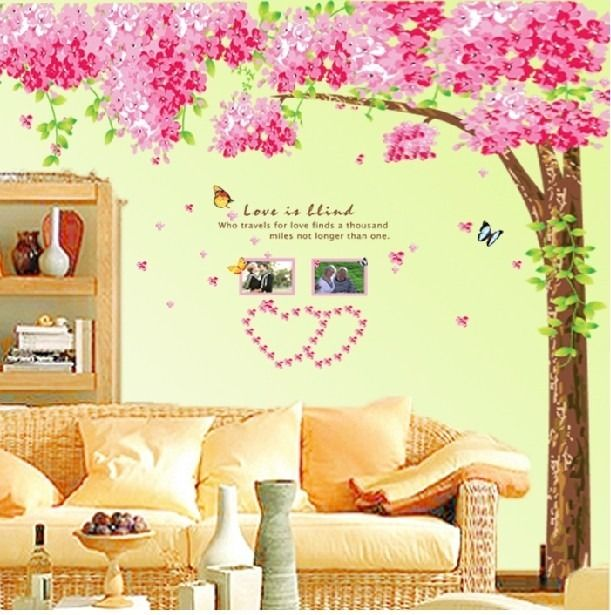 Hot New Large Pink Cherry Blossom Flower Tree Art Decor Adhesive ...