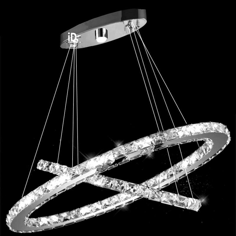 Kristalna luč za obešanje obesne luči za jedilnico, preddverje, stopnice 2 obroči Kristalna svetilka LED lestenec svetilka c-019