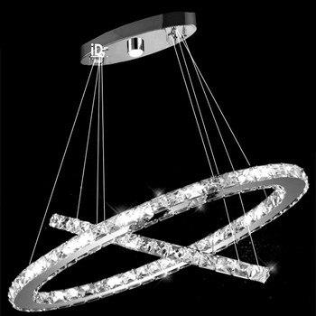 Luz De Cristal Lustre Colgante Luz De Suspensión Para Comedor, Vestíbulo, Escalera 2 Anillos Lámpara De Araña De Cristal LED C-019