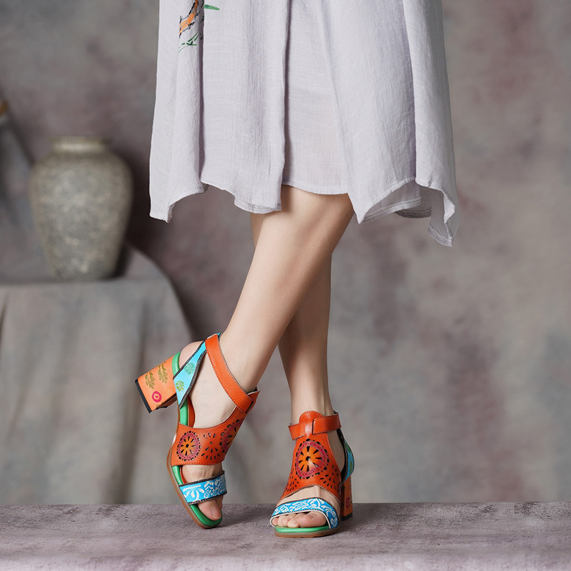 VALLU 2019 Women s Shoes New Arrival Women Ethnic Style Embroider Sandals Square Heel Lady Shoes