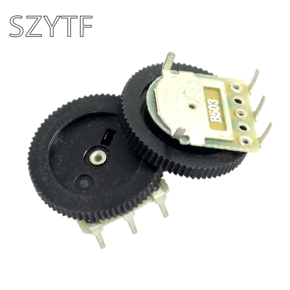 50 шт./пакет шестерни циферблат потенциометра одного стыка 3pin 1-10 k 20 K(50k 5pin) 16*2 мм