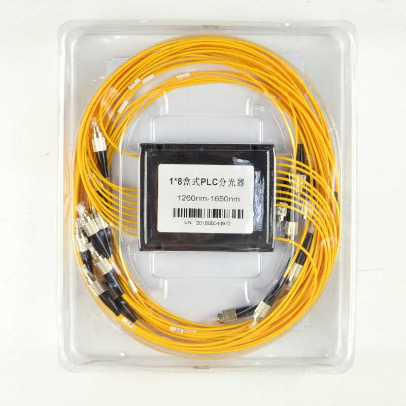 ABS صندوق الألياف مقسم PLC للألياف الضوئية 1x8 FC/UPC موصل 2.0 مللي متر 1 متر