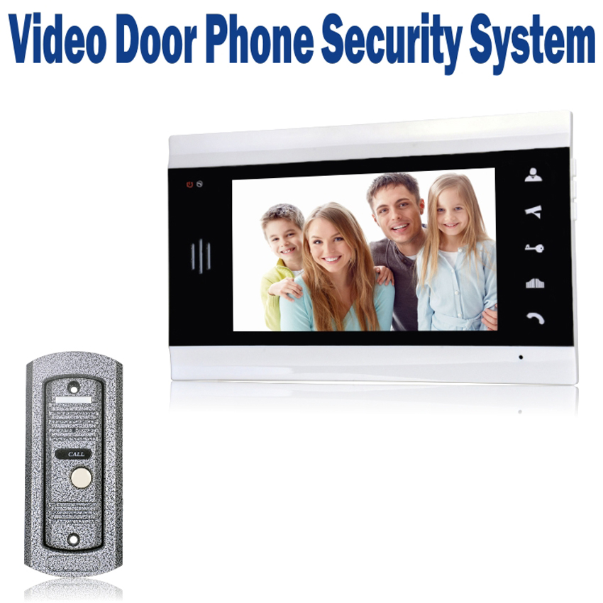 "7"" LCD Monitor Wired Video Door Phone Home Security System Doorbell Intercom with 700 TVL IR Camera"