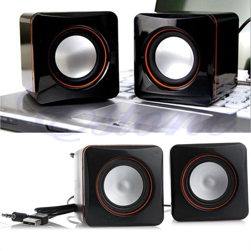 P USB DC 5V 3.5mm Audio Interface Stereo Mini Portable PC Speaker Subwoofer Black For Notebook Desktop Laptop Tablet