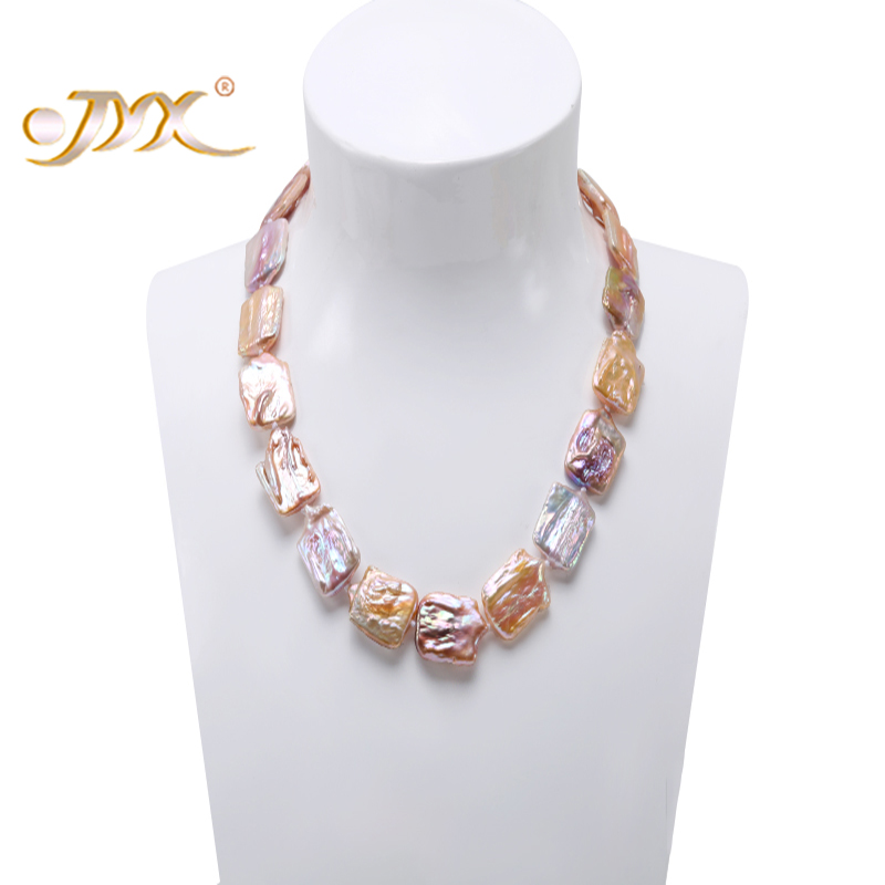JYX updated big 20 23mm Lavender Baroque Freshwater Cultured Pearl Necklace Party Wedding Jewelry for Women