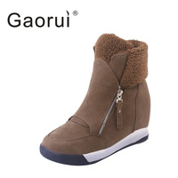 Gaorui Autumn Winter Sneaker With High Heel Casual Female Ankle Boots Fashion Zip Girl Daily Warm Shoes