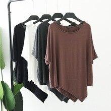 купить 2019 Summer Fashion Short Sleeve Irregular Hem T-Shirt Modal High Elasticity Loose Casual Tops Women O Neck Solid Color T Shirt дешево