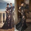 Sexy ver através tule corpete de renda alta Collar Sheer comprida básica Oved Cohen vestidos de noite 2014 árabe Couture