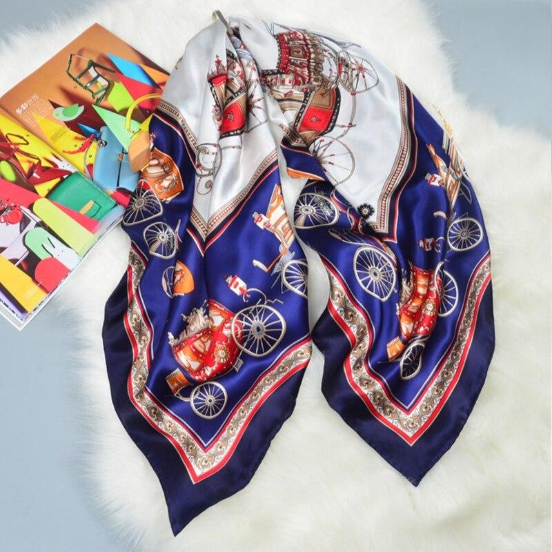 Luxury Fashion Print Large Square Silk Scarf Shawl Bandana Foulard Women 100% Satin Silk Scarf Wraps Hand Rolled Edge 110cm
