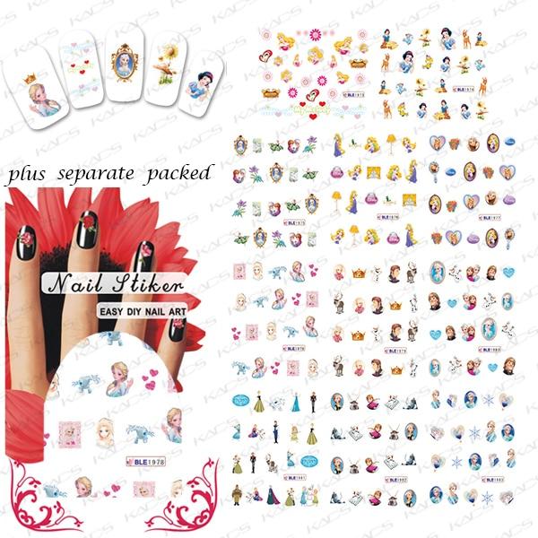 2015 NUEVO 50 Unids/lote BLE1973-1983 agua pegatinas de Manicura Manicura especial Princesa serie de dibujos animados
