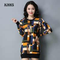 XJXKS High Quality Women Long Sweaters Wool Knitting Thick Warm Geomeric Pattern Long Sleeve Women's Pullover Jumper