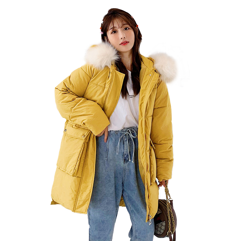 new Large Fur Down Jacket Winter Women New military uniform Loose Hooded Cotton Padded Jacket woman Thick Long   Parkas   Outwear