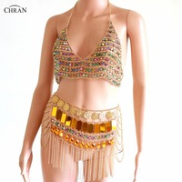 Chran Gem Metal Chain Hollow Out Tank Top Mini Skirts Women Tassel Backless Nightclub Party Festival Rave Outfit Clothing