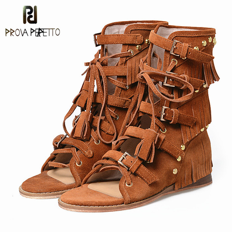 Prova Perfetto Euramerican Rome Style Buckle Belt Decoration Flat Sandals Fringe And Rivets Cow Suede Leather Woman Shoes цена 2017